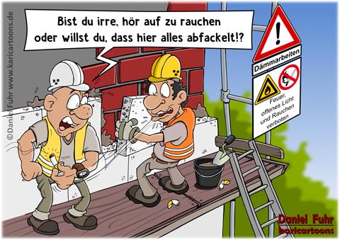 Bauarbeiter bei der arbeit comic  Cartoons und Karrikaturen